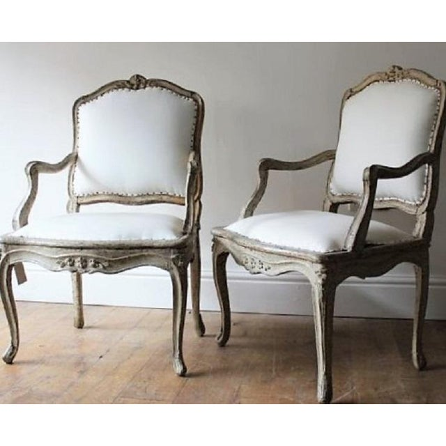 "Louis XV 18th C Louis XV Armchairs, Signed ""Blanchard"" Pair For Sale - Image 3 of 7"