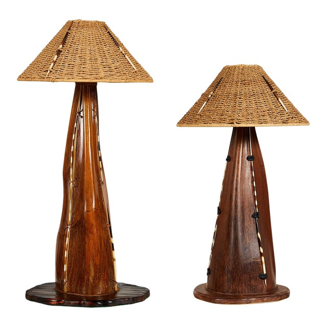 Interesting Pair of Midcentury Palm Frond Lamps For Sale