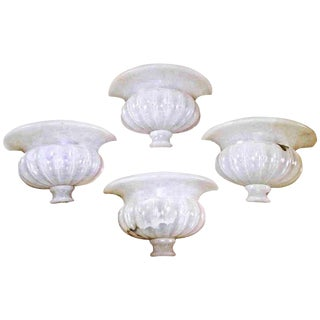 Pair of Large Neoclassic Urn Form Alabaster Wall Sconces For Sale