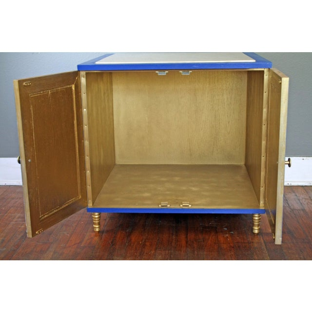 Hollywood Regency Style Blue Cabinet For Sale - Image 5 of 5