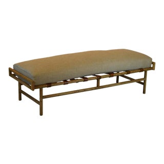 Custom Vintage Leather Strap Bench For Sale