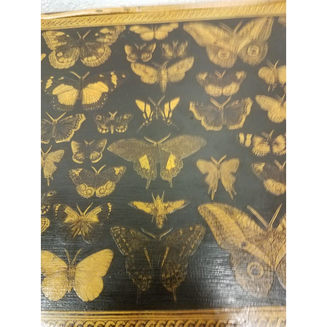 Antique English Bamboo Decoupaged Bookcase With Butterflies For Sale - Image 10 of 13