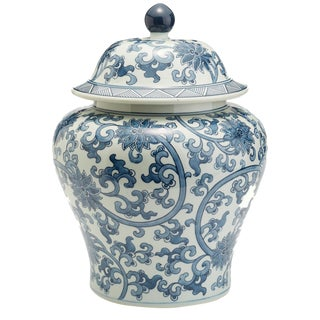 Blue & White Asian Temple Jar For Sale