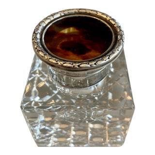 Art Deco Sterling Silver Cut Glass Inkwell With Tortoise Lid For Sale