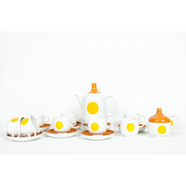 Mid-Century modern German porcelain tea / coffee service for eight people. Each piece is in excellent condition, maker's...
