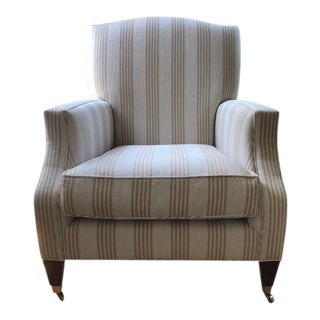 Baker Khaki Striped Lounge Chair For Sale
