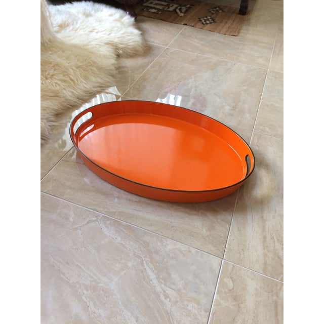 Orange Lacquer Oval Hermès Inspired Serving Tray - Image 4 of 12
