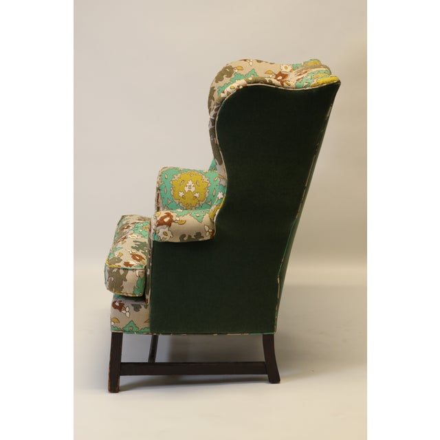 """English English Georgian Style Wing Chair in Clarence House """"Suzani"""" Style Fabric For Sale - Image 3 of 10"""