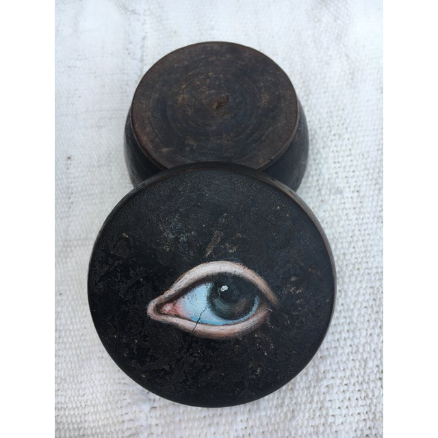 Brown Antique Chinese Geisha Face Powder Box W/ Eye For Sale - Image 8 of 9