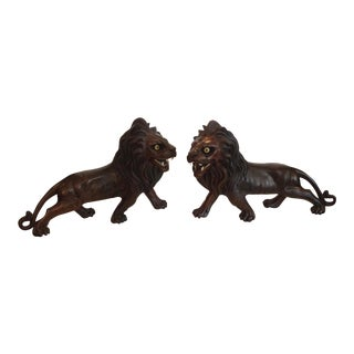 Pair of Ebony Indo - Burmese Figures of Lions For Sale