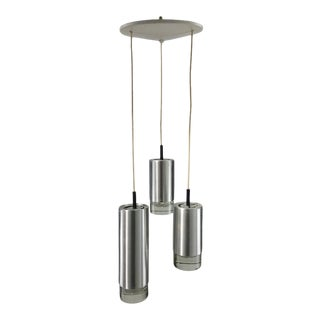 Raak B1075 Brushed Steel and Glass Triple Hanging Pendant Lamp, Holland For Sale
