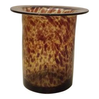 Hand Blown Tortoise Pattern Cylinder Vase