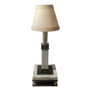 Antique Italian Neoclassical Marble & Bronze Candlestick Table Lamp For Sale