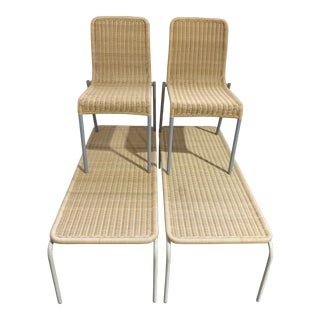 Avantide Alchemilla 2 Wicker Stacking Chairs and 1 Bench - Set of 3 For Sale