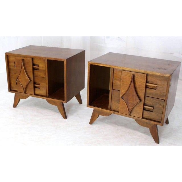 Pair of walnut Mid-Century Modern stands with small sliding doors bookcase.