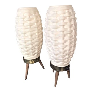 Mid-Century Modern White Plastic Tripod Base Basket Weave Beehive Table Lamps - a Pair For Sale