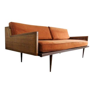 Mid-Century Modern Danish Modern Walnut & Cane Daybed Sofa For Sale