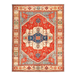 """Serapi Hand Knotted Area Rug - 9' 1"""" X 11' 8"""" For Sale"""