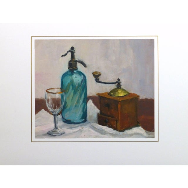 Raymond Bailly, French Oil Still Life - Seltzer & Coffee For Sale - Image 4 of 5