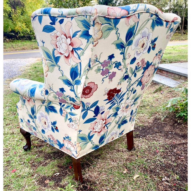 Large Scale English Wingback Chair in Peony Chintz For Sale - Image 11 of 13