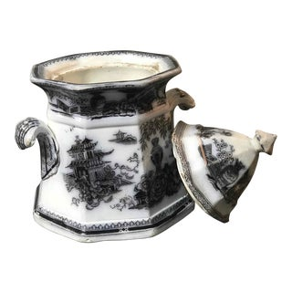 Mid-19th Century English Transfer Ware Pot For Sale