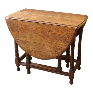 19th Century English Oak Drop Leaf Dining Table For Sale