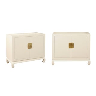 Fabulous Restored Pair of Cream Raffia Cabinets by Baker, circa 1975