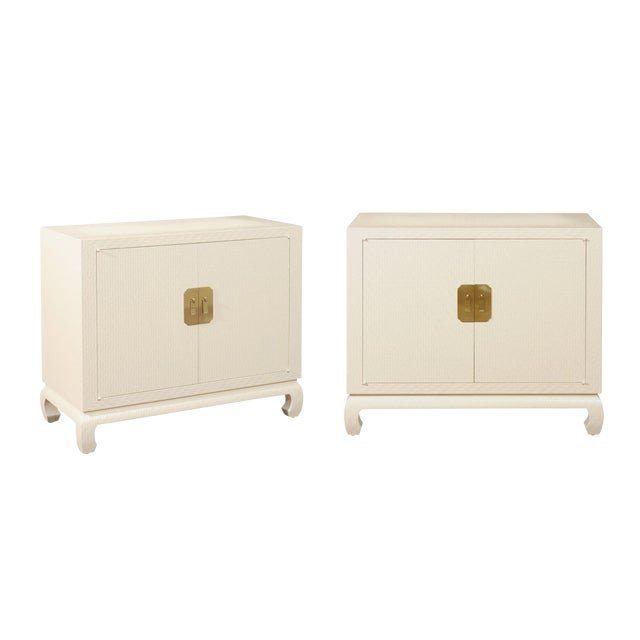 Fabulous Restored Pair of Cream Raffia Cabinets by Baker, circa 1975 For Sale