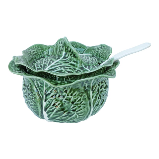 Majolica Cabbage Covered Soup Tureen & Cabbage Ladle For Sale