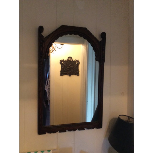 Early 19th Century Rustic Dark Oak Console and Mirror - 2 Pieces For Sale - Image 10 of 13
