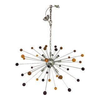 Murano Glass Triedo Yellow & Brown Sputnik Chandelier For Sale