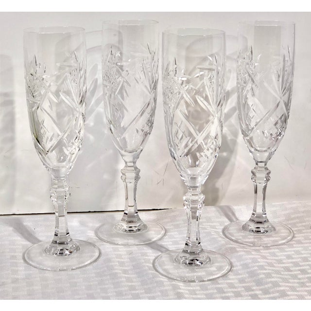 Transparent Mid 20th Century Cristal De Paris Lead Crystal Hand Cut Champagne Glasses - Set of 4 For Sale - Image 8 of 8