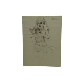 """Tom Sturges Jr. 1951 """"Reading in the Nude"""" Original Drawing on Paper For Sale"""