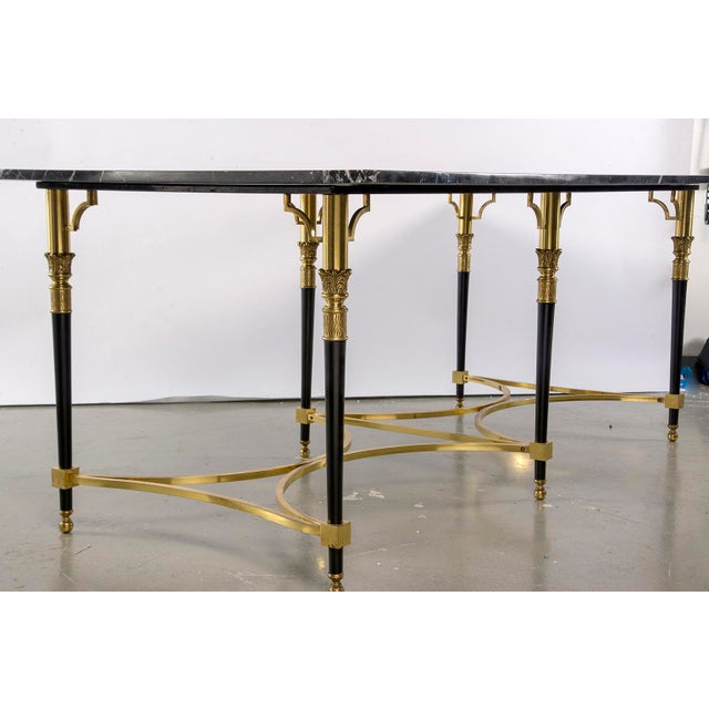 Italian Directoire Style Table With Black Marble Top and Brass Base For Sale - Image 9 of 13
