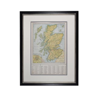 1920s Vintage Framed Scotland Map For Sale