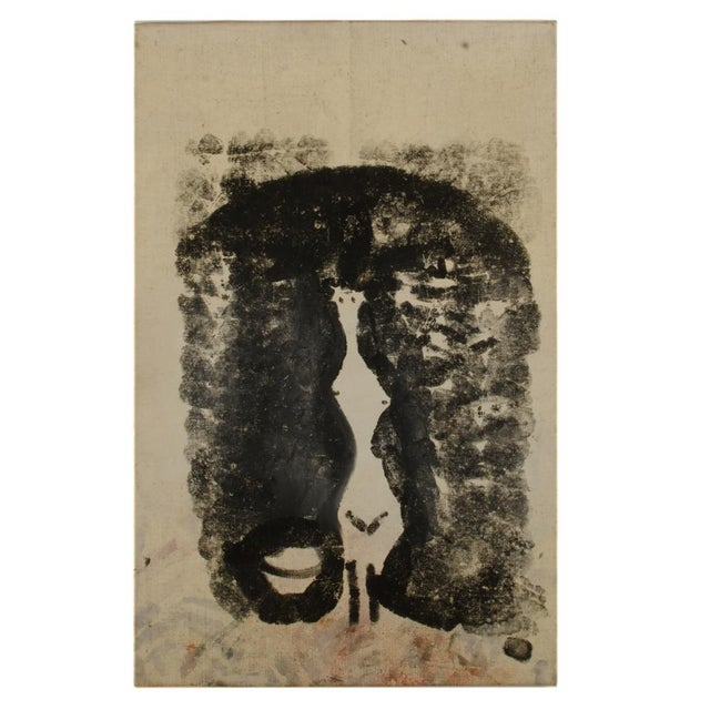 Untitled, Black Handprints in shape nude woman w/bowl - Oil on Canvas , Estate Stamp on Back of painting frame dated 1960...