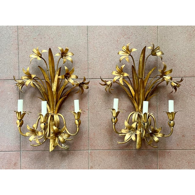 Italian Mid Century Hollywood Regency Gilt Toleware Floral Sconces - a Pair For Sale - Image 13 of 13
