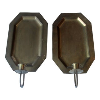 1960s Brass Wall Hanging Candleholders - a Pair For Sale
