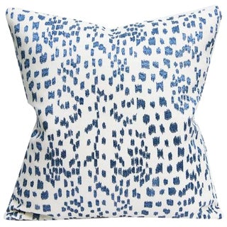 """Brunswig & Fils """"Les Touches"""" Contemporary Embroidered Blue and White Leopard Pillow Cover"""