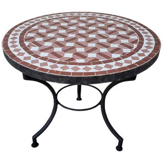 "Moroccan Tri Color Mosaic Table - 24"" For Sale"