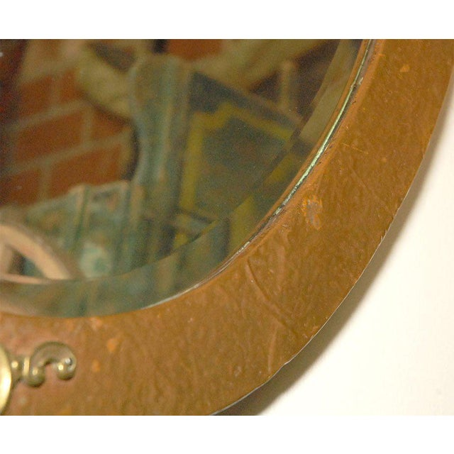 Oval Mirror in Copper and Brass Frame For Sale In Los Angeles - Image 6 of 7