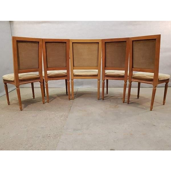 Set of Five French Louis XVI Square Back Vintage Dining Chairs 4 Side Chairs and 1 Armchair For Sale - Image 11 of 13