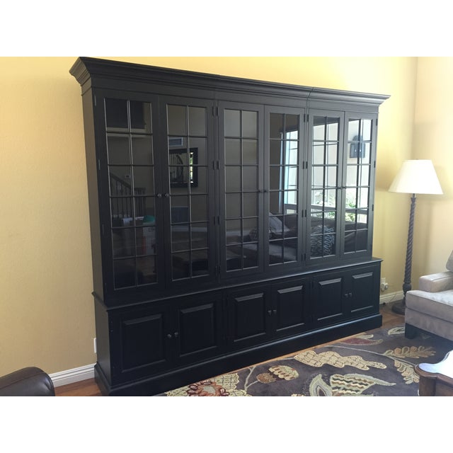 Black Ethan Allen Villa Triple Bookcase - Image 7 of 8
