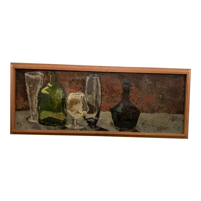 Bottles and Glasses Still Life Painting on Linen For Sale