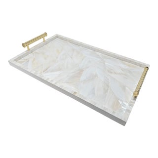 Jonathan Adler Inspired Mother of Pearl Serving Tray For Sale