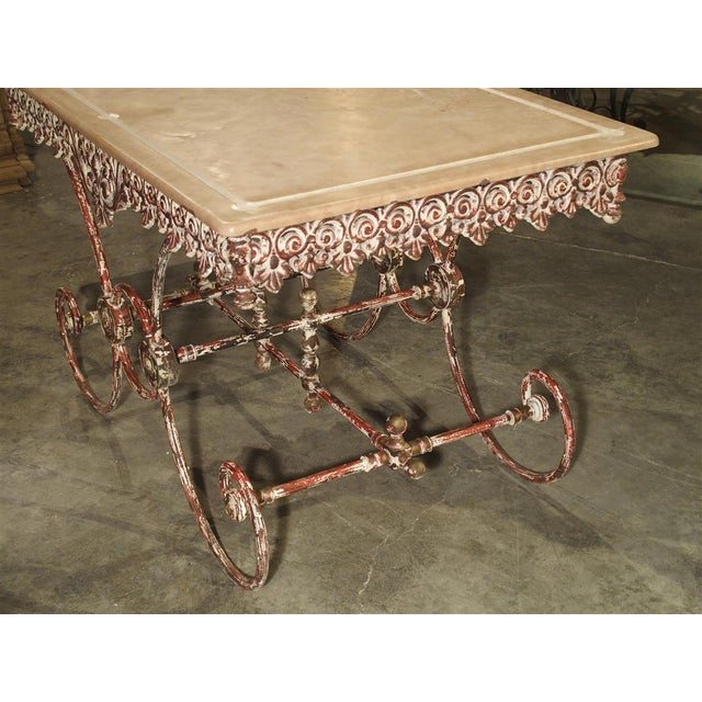French Iron and Marble Pastry Table For Sale - Image 10 of 13