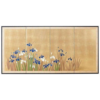 Japanese Four-Panel Byobu Screen Irises on Gilt For Sale