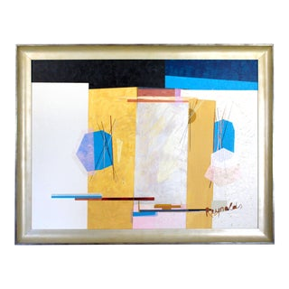 """Mid-Century Post Modern Abstract Yellow, Blue, White, Black Signed & Framed Painting by """"Reynolds"""" in the Manner of Wassily Kandinsky For Sale"""