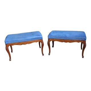 Louis XV Cherry Carved Upholstered Benches - a Pair For Sale
