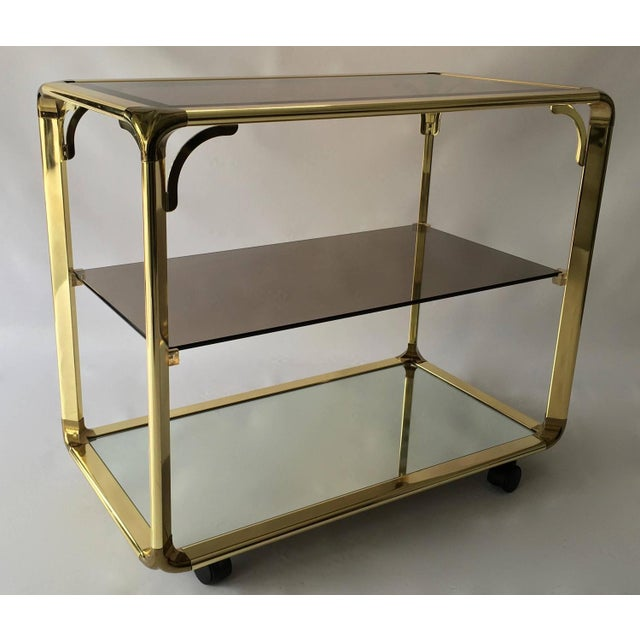 Vintage 1970s Smoked Glass & Mirror Brass Bar Cart - Image 3 of 6